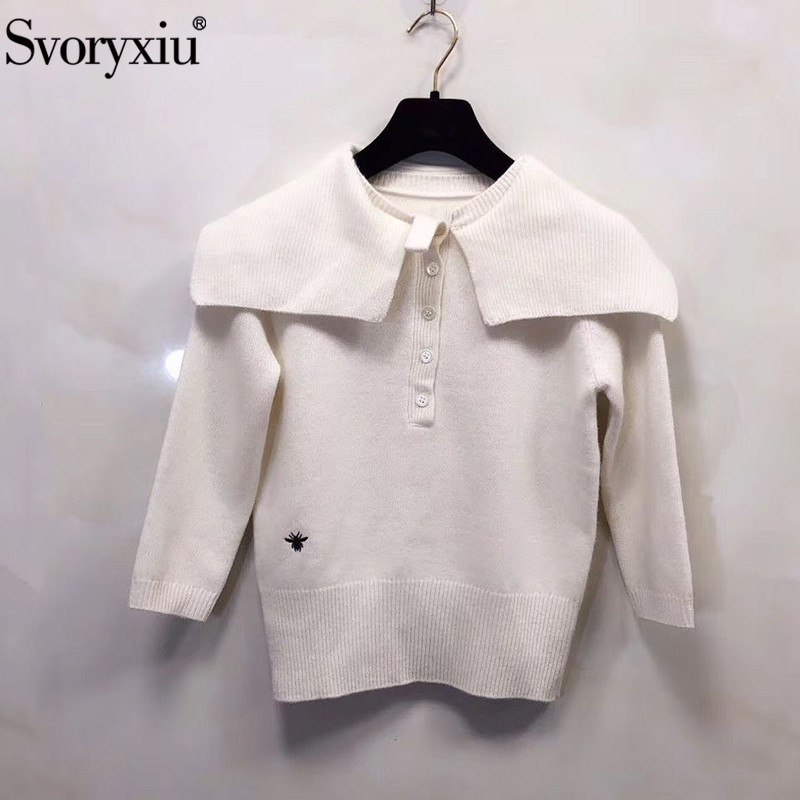 Svoryxiu 2019 New Autumn Winter Designer High End White Sweater Pullovers Women's Fashion Spider Embroidery Knitting Jumper