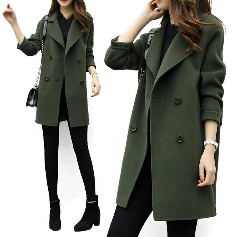 Casaco longo quente feminino plus size feminino fino ajuste lapela casaco outono inverno outerwear
