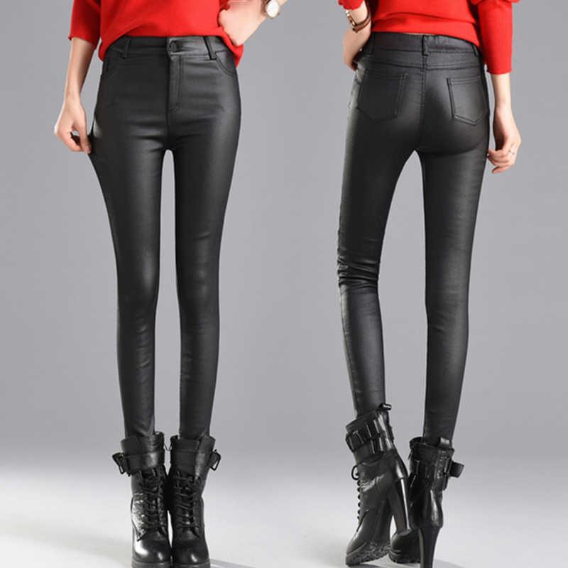 Kadın ince kadife PU deri pantolon 2020 yeni kadın elastik streç Faux deri sıska kalem pantolon sıkı pantolon sonbahar kış