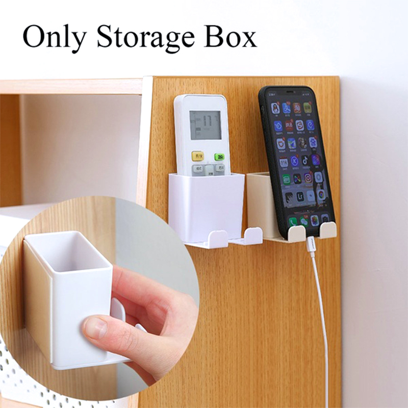 1pc Wall Mount Storage Box Mobile Phone Charging Bracket Home Wall Hanging Cell Phone Holder Remoter Rack Shelf Home Organizer