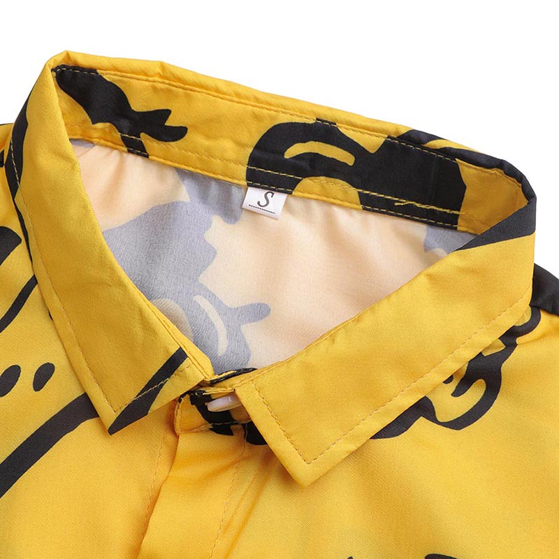 Summer trend graffiti printed long sleeve shirt men's charm personality ice silk wear resistant yellow Lapel wash long style