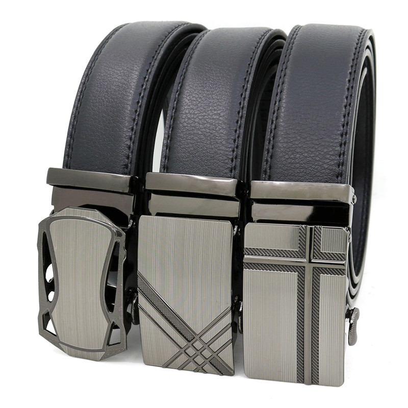 LannyQveen New Designer Ratchet Belt Male Men's Artificial Leather Belt Business PU Belt Alloy Automatic Buckle Belts For Men