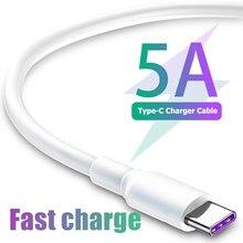 Fita c cabos 5a supercharge cabo de carregamento rápido para huawei p30 p20 companheiro 20 pro nova 5 4 3 usb c cabo para samsung a70 a50 kabel