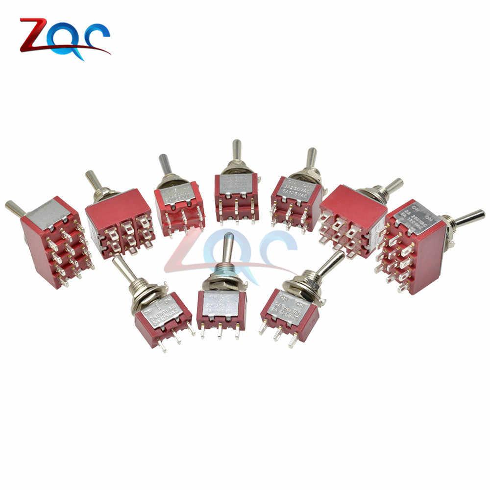 Mini auto interruptor de palanca de enclavamiento MTS-302/303/402/403/123/223 SPDT DPDT MTS302 en -apagado-encendido 120VAC 125VAC 5A 250VAC 2A
