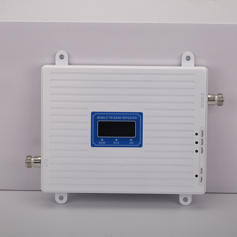 Walokcon 2g 3g 4g Tri Band Signal Booster 900 1800 2100 GSM WCDMA UMTS LTE Cellular Repeater 900/1800/2100 MHz Mobile Amplifier
