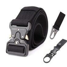 Ceinture tactique militaire en Nylon, ceintures dentraînement pour hommes, ceintures dentraînement dextérieur, noire, haute qualité, facile à déverrouiller, ceinture militaire en métal