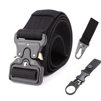 Nylon Tactical Belt Army Belt Men Outdoor Training Belts Black High Quality Easy Unlock Metal Military Buckle Belt