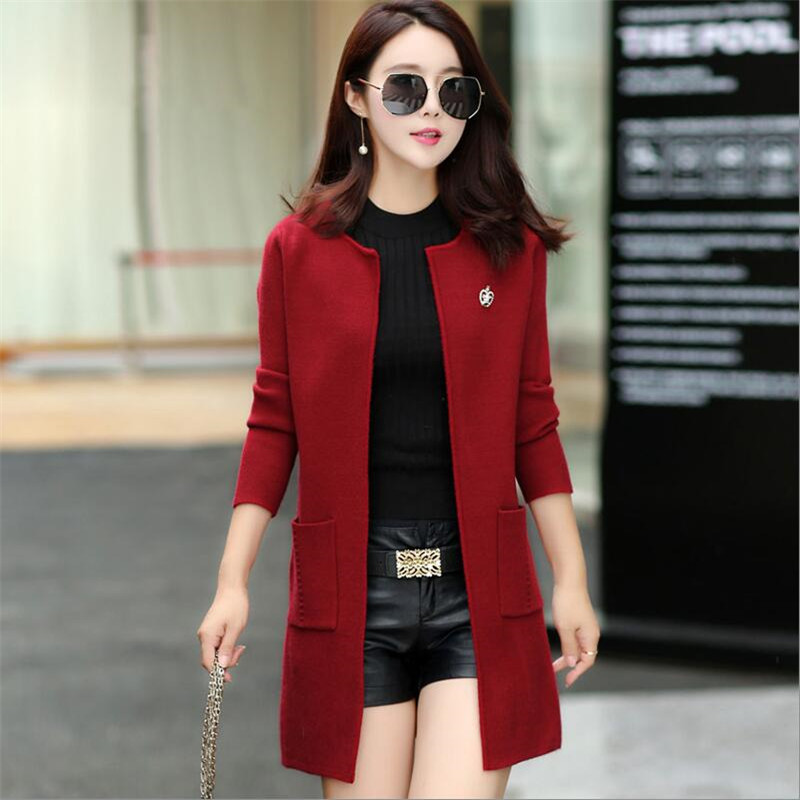 2019 Autumn And Winter Cardigan With Pockets Women's Clothing Soft And Comfortable Coat Knitted V-Neck Long Cardigan Female
