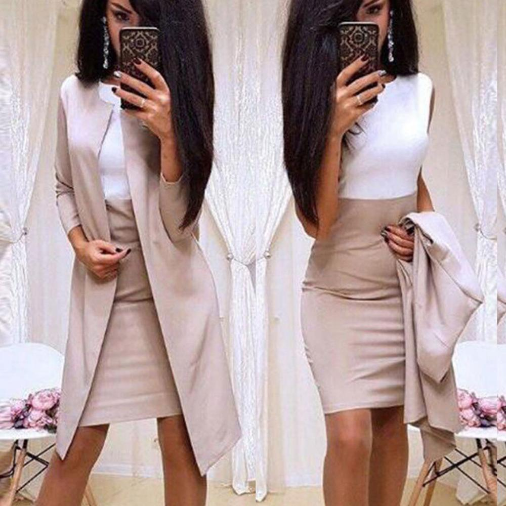 Women Dress Suit Autumn Two Piece Set Sexy Career Suits Solid O-Neck Splicing Long Sleeve Long Coat Sleeveless Mini Dress