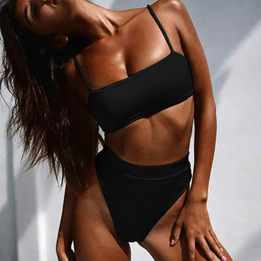 Summer Sexy Bikini Set Women Swimsuit Solid Color Bikini Waist High Swimwear Padded Backless Straps Bra Swimsuit Biquini Fe Q7A4