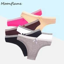 Moonflme 5 pcs/lots Solid Color Women Cotton Bikini Panties M L XL 89156