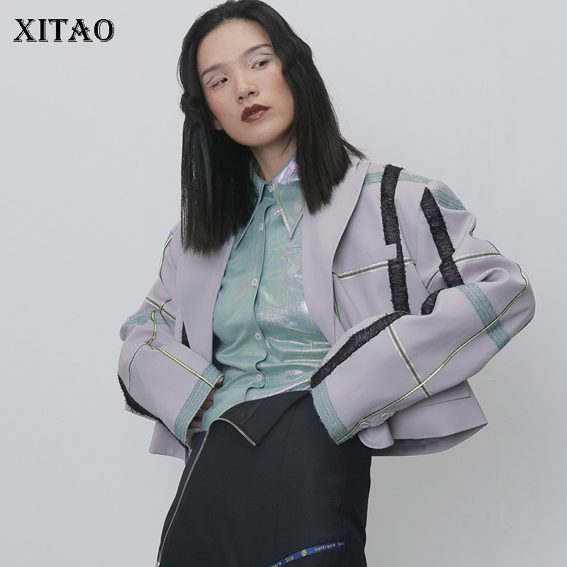 XITAO Irregular Plaid Jacket Women Clothes 2019 Sequined Single Breast Pocket Patchwork Long Casual Minority Sheath Coat DMY1021