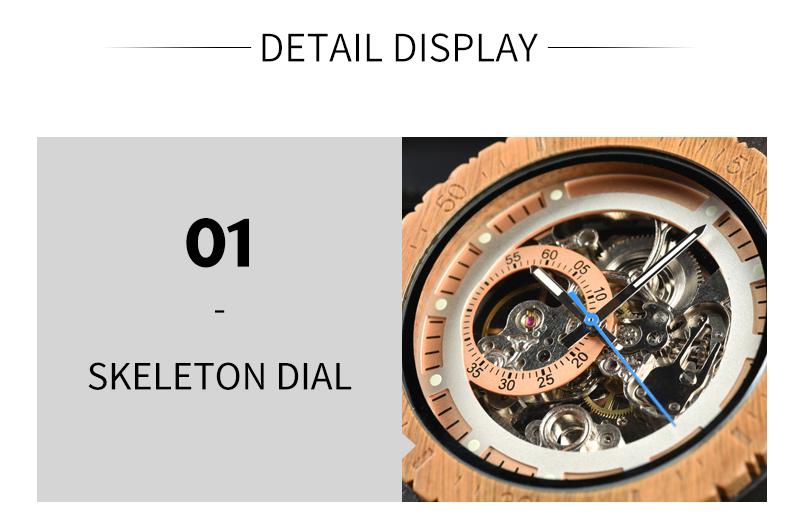 Reloj mecánico de madera caja de diseño Retro 10