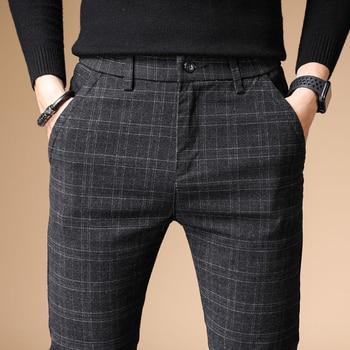 2020 New Design Upscale Men Casual Pants Cotton and linen Slim Male Pant Straight Trousers Business Pants Men Plus Size 38