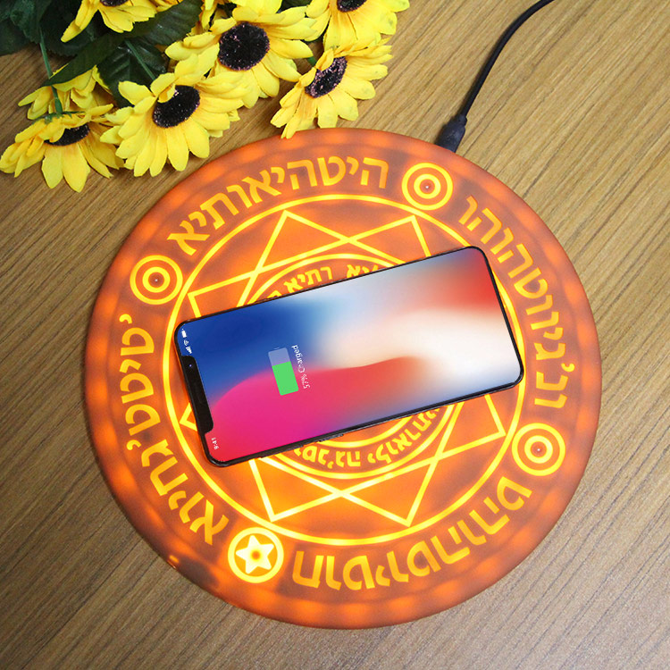 Boutique Magic optical array Wireless Charger Qi fast Charging Pad For Iphone 8 X XR XS Huawei S8 S9 Xiaomi MIX on coffee table 1