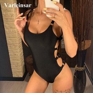 2020 Sexy Black Hollow Cut Out Full Back Women Swimwear One Piece Swimsuit Female Bather Bathing Suit Swim Wear Beach Lady V649B(China)