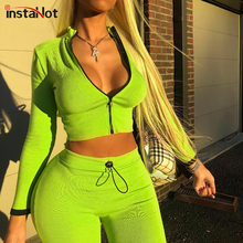 InstaHot Neon Two Piece Set Women Sexy Ribbed Knitted Zipper Up Slim Crop Top and Drawstring Skinny Pants Casual Tracksuit o ring zipper ribbed crop top