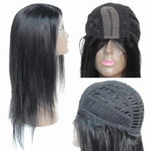 Natural Color Human Hair L Part Lace Wigs Brazilian Straight