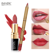 IMAGIC 2Pcs=1Pcs  Easy Waterproof Makeup Lipliner Pencil +1Pcs Long-lasting Matte Lipstick Set