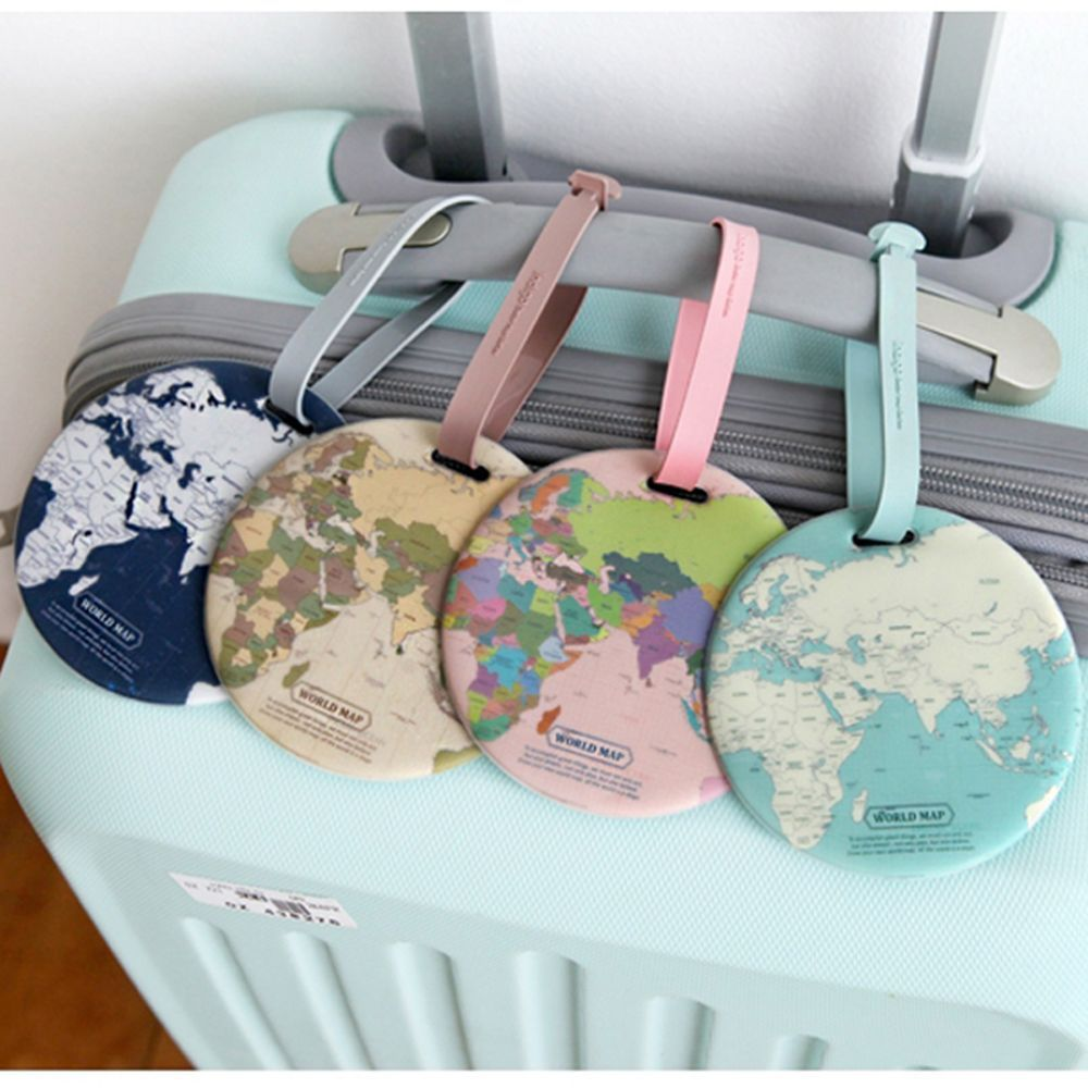 Fashion Creative Round World Map Luggage Tags Silica Gel Suitcase ID Address Holder Baggage Boarding Tags Travel Accessories New