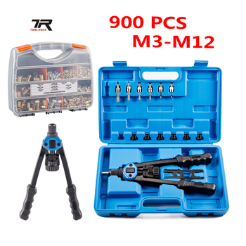 цена на 900PCS Rivet Nut Set Insert Nut Nutsert M3-M12 Hand Riveter Rivnut Gun Riveting Kit Hand Tools Kit Nuts Toolbox