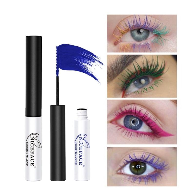 7 Colors 4D Silk Fiber Lash Mascara Waterproof Thick Curling Not Blooming Colored Mascara 2.5mm Brown Blue Women Girls Makeup