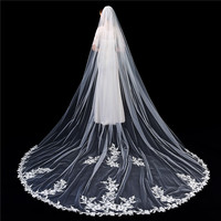 Luxury Long Cathedral Veil Ivory Lace Appliques 3m 5m Custom Made Bridal Veil Decorations One Layers veu de noiva catedral
