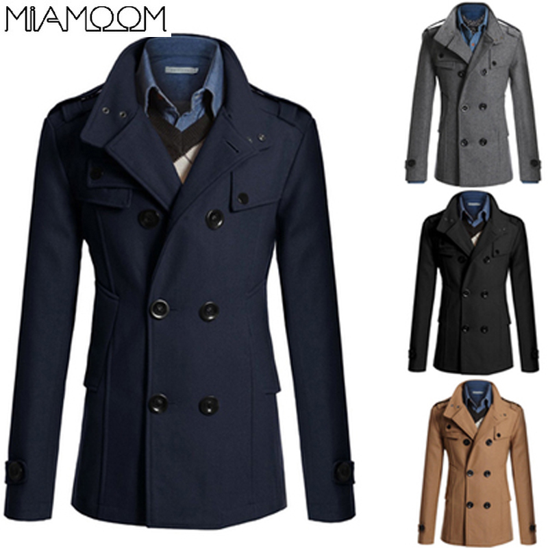 Mens Coat Men's Autumn and Winter New Slim-fitting Medium Length Men's Woolen Coat