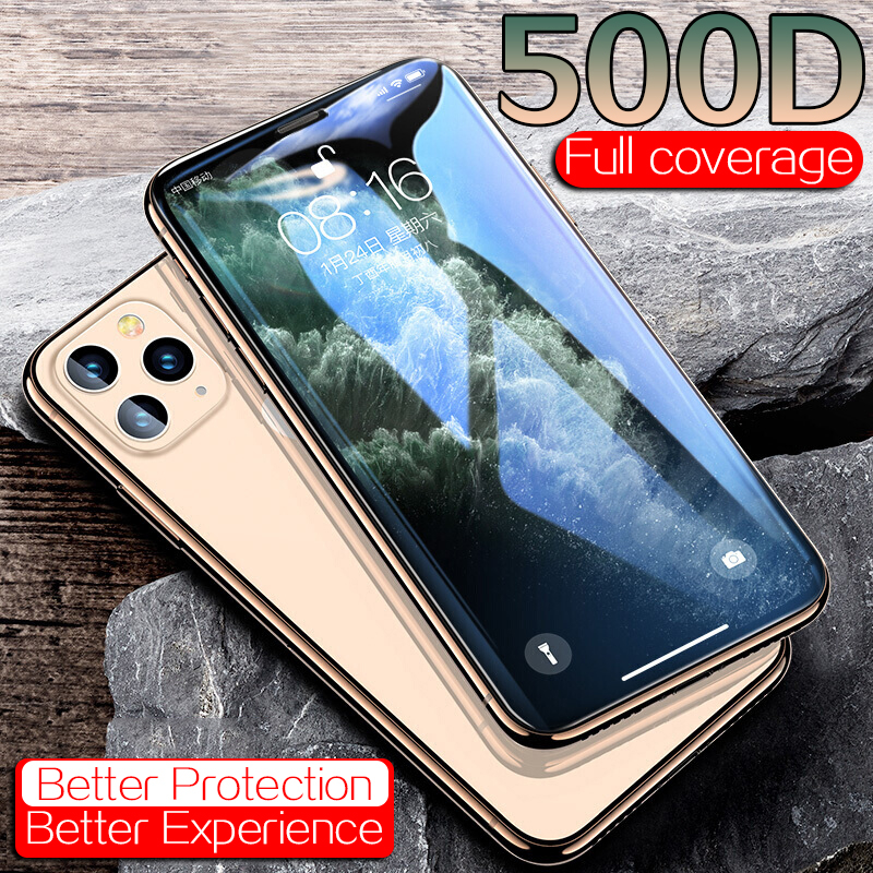 500D Full Cover Protective Glass On The For IPhone 11 Pro XS Max X XR Screen Protector For IPhone 7 8 6 Plus X 6s Glass Tempered