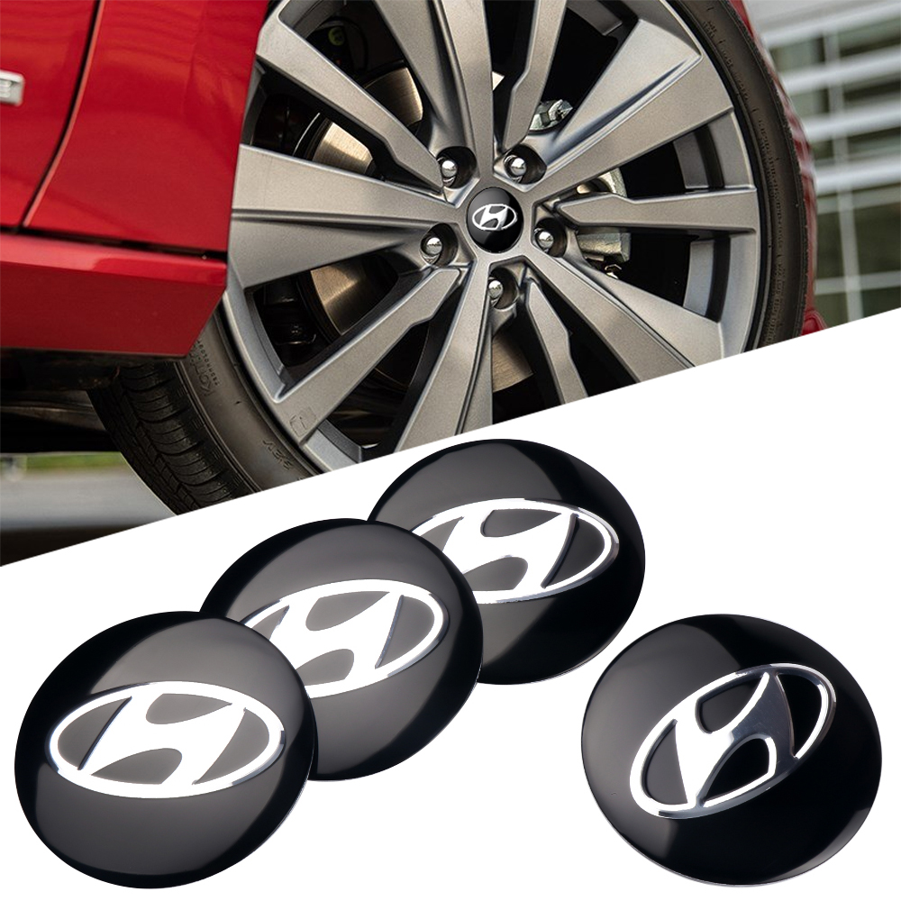 Car Styling 56mm 4Pcs Wheel Center Hub Cap Emblem Stickers For HYUNDAI Solaris Ix35 I20 I30 I40 Tucson CRETA Santa Accessories