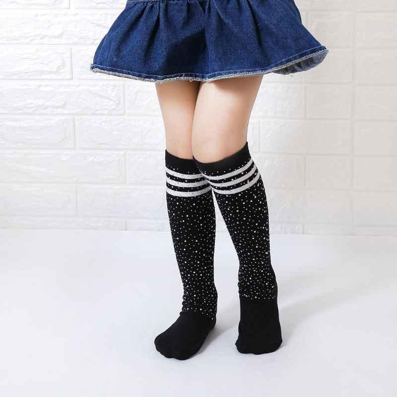 KLV yeni moda çocuk diz üstü çorap renkli çizgili Rhinestone dekorasyon kızlar çorap uzun tüp sıcak çorap 3-12Y
