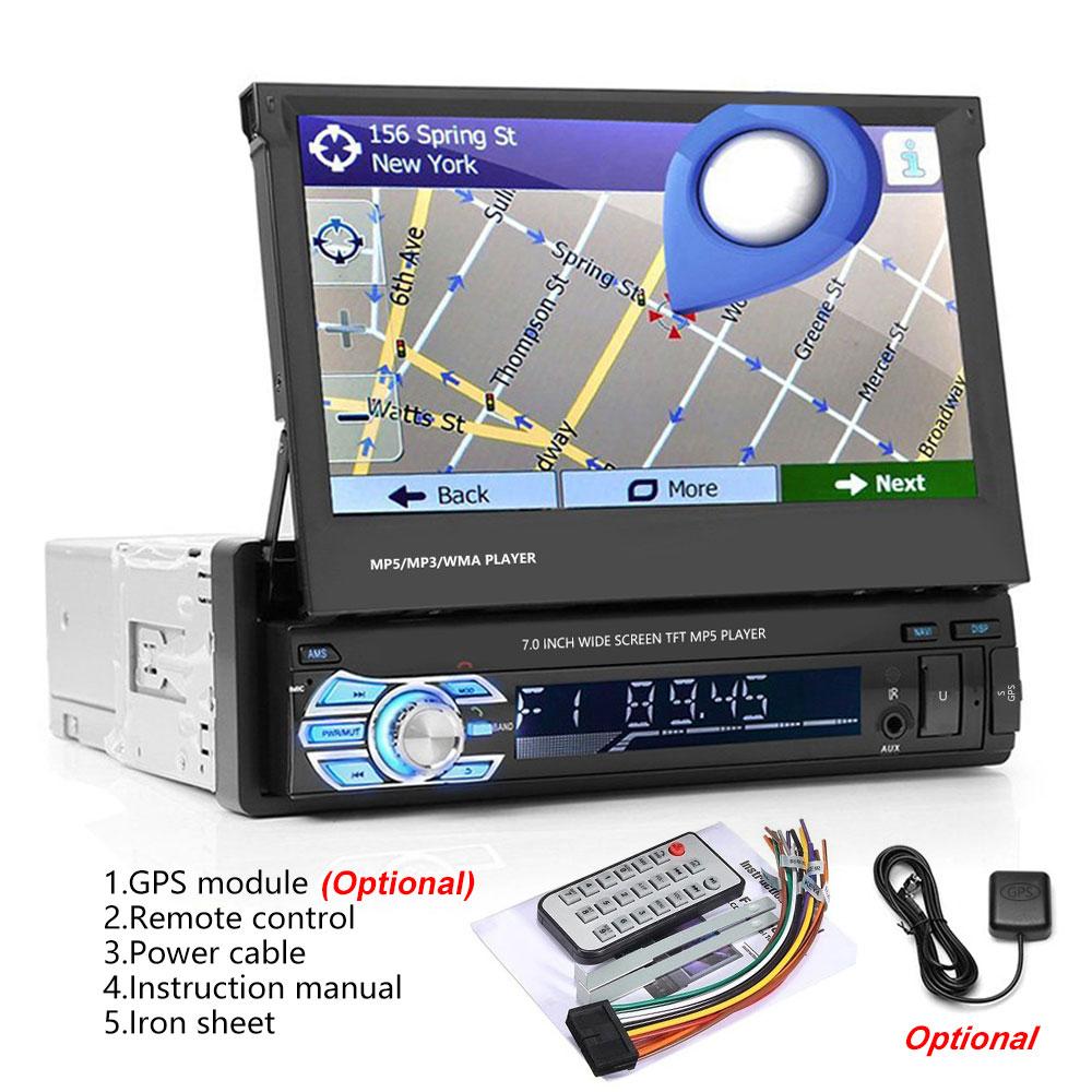Podofo One din Car radio MP5 Player GPS Navigation Multimedia car audio stereo Bluetooth 7 HD Retractable Autoradio AUX-IN FM (5)