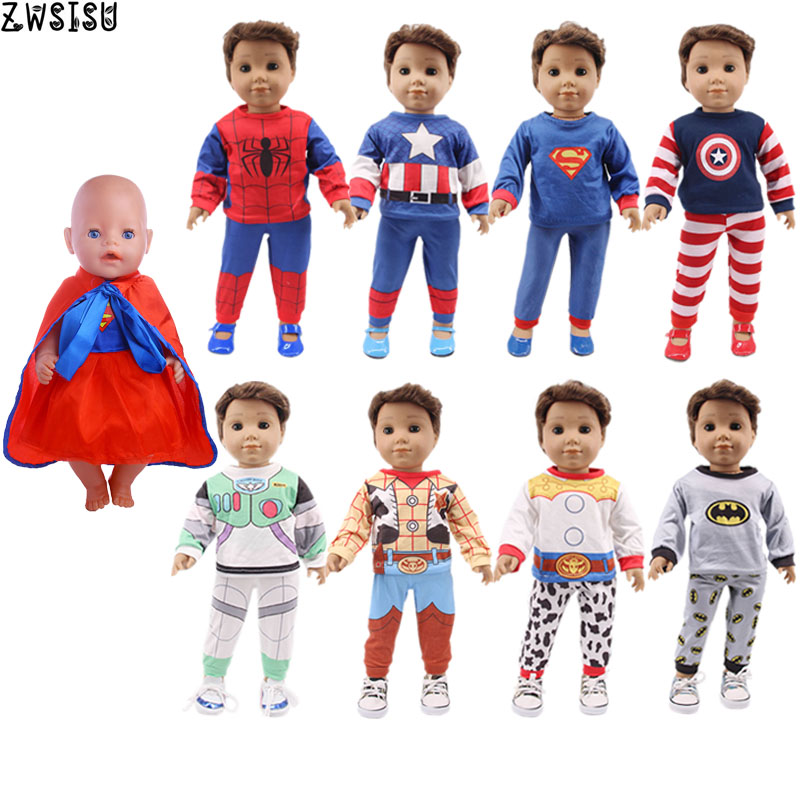 Doll Clothes 2 Pcs Pajamas Super Hero Series 3D Tops Shirts Spider-man For 18 Inch American&43 Cm Born Logan Boy Doll Girl`s