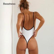 все цены на 2019 New Sexy One Piece Swimsuit Women Swimwear Thong Monokini Swimsuit High Cut Backless Bathing Suits Swimming Suit For Women онлайн