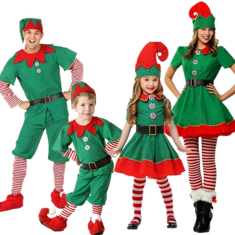 Women Men Boy Girl Christmas Santa Claus Costume Kids Adults Family Outfits Green Elf Cosplay Costumes Carnival Party Supplies
