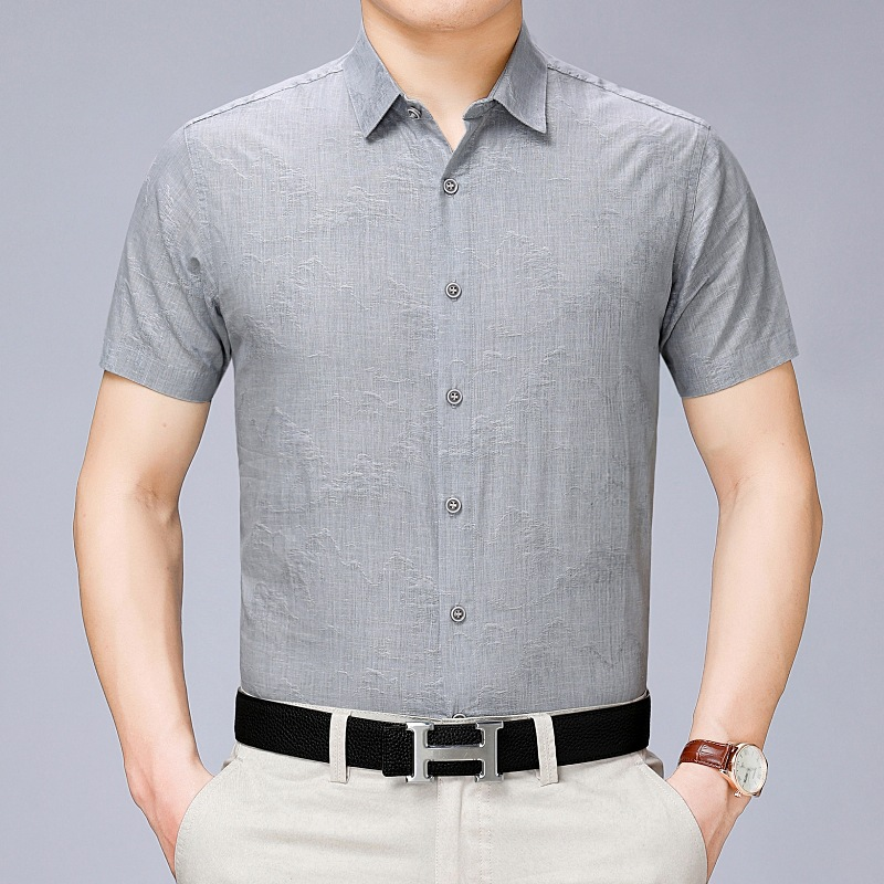 Short Sleeve Shirt Men's Summer Slim Solid Color Youth Shirt Short Sleeve Thin Slim Trend Shirt