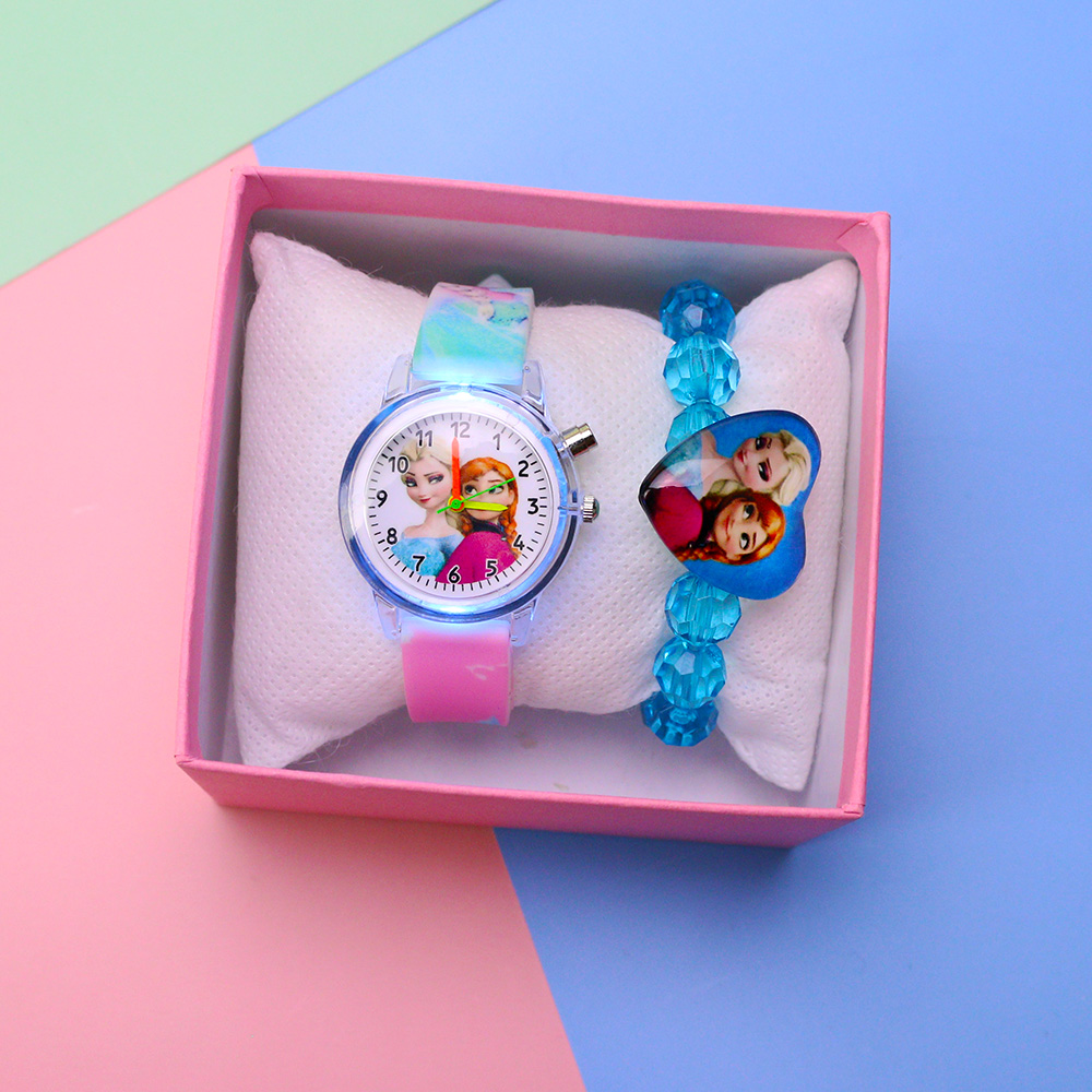Colorful Flash Light Princess Elsa Watch For Girls Rubber Strap Cute Cartoon Children Kids Watches With Bracelet Reloj Infantil