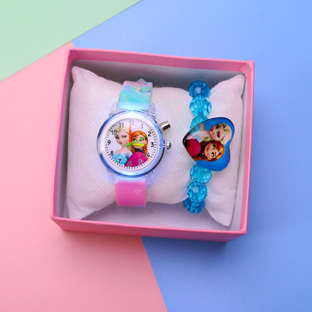 Colorful Flash Light Princess Elsa Watch For Girls Rubber Strap Cute Cartoon Children Kids Watches With Bracelet Reloj Infantil