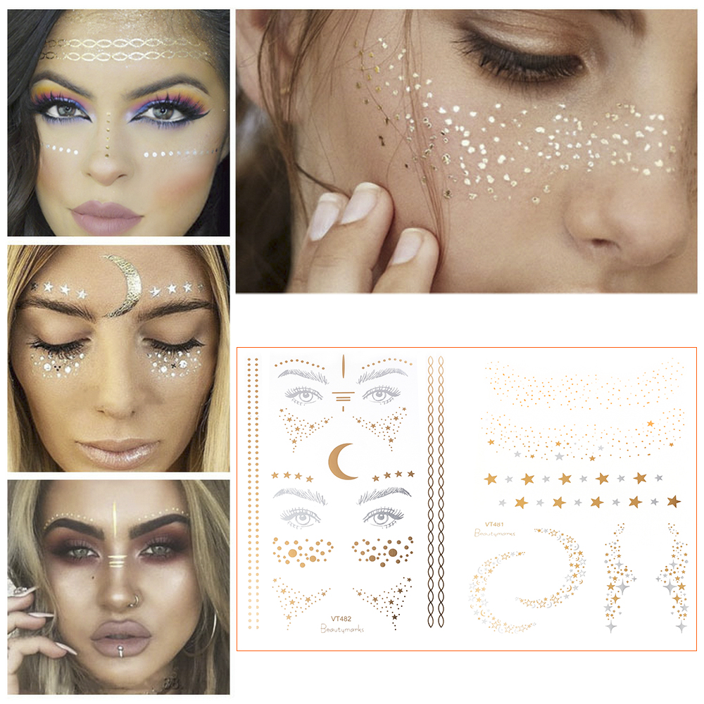 2019 New Gold Face Temporary Tattoo Waterproof Blocked Freckles Makeup Stickers Eye Decal Wholesale 2