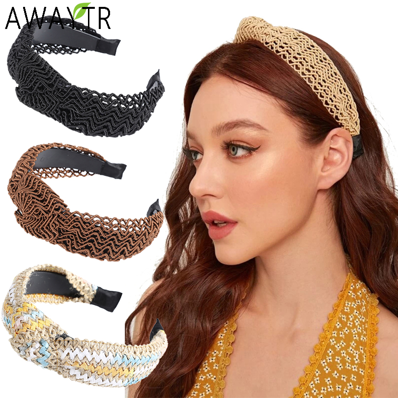 AWAYTR Bohemian Headband For Women Weaving Wide Headband Women Hair Accessories Hairband Knot Adults Retro Hairband Head Hoop