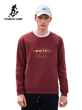 Pioneer camp streetwear inverno moletom para homem grosso 100% algodão o pescoço preto cor vermelha causal hoodies para homem awy906370