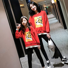 Leopard Print Mom and Baby Sweatshirt Mother Girl Long Sleeve Casual Tshirt Coat Mum Daughter Matching Clothes High Quality