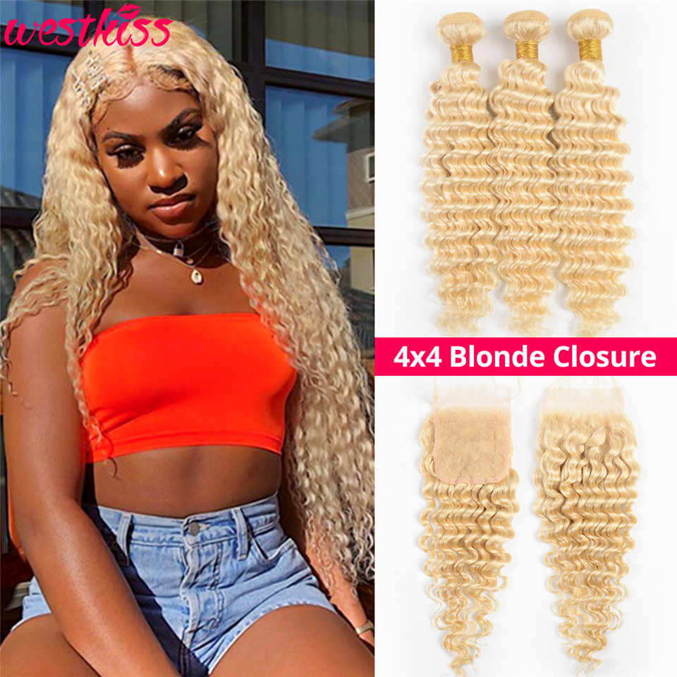 West Kiss Hair 613 Bundles With Closure Brazilian Deep Wave Bundles With Closure 4x4 Free Part Human Hair Lace Closure Remy