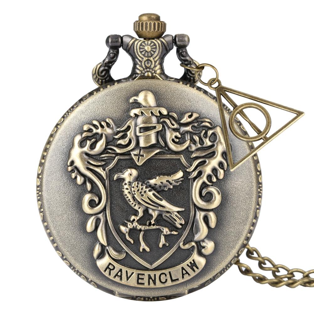 Full Hunter Pocket Watch For Women Retro Gryffindor Theme Case Alloy Slim Chain Pendant Watch Male Clock Reloj De Mujer