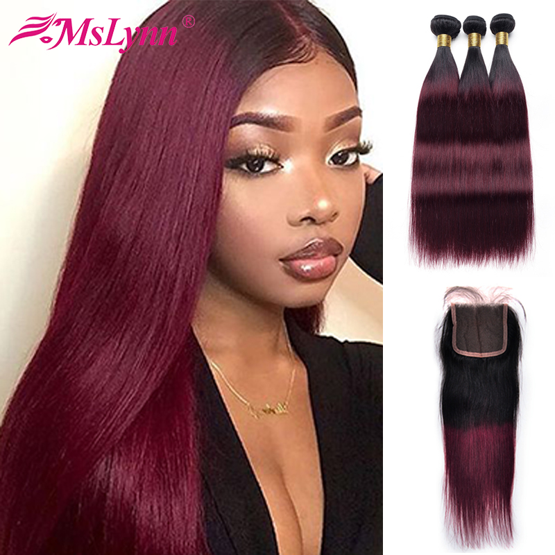 Brazilian 1B/99J Straight Hair Bundles With Closure Human Hair Bundles With Closure Ombre Bundles With Closure Mslynn Remy Hair