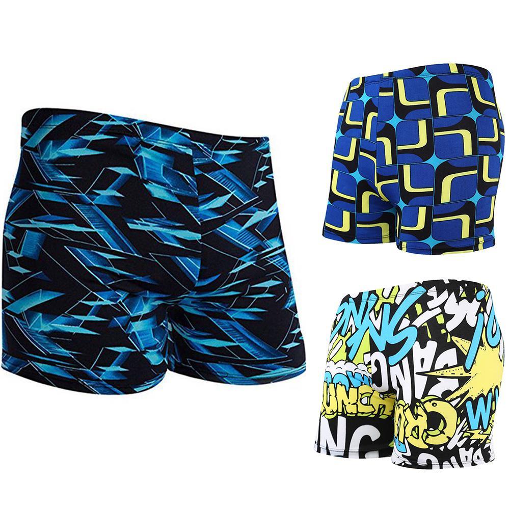 Men Fashion Printed Quick Dry Large Size Swimming Trunks Soft Elastic Swim Beach Shorts Surfing Swimming Boxer Trunks Swimwear