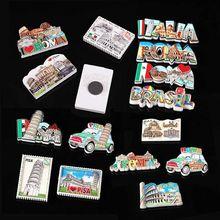 Itália roma ímãs de geladeira lembrança turística italiano pisa brasil 3d resina magnética geladeira adesivos decoração para casa presentes