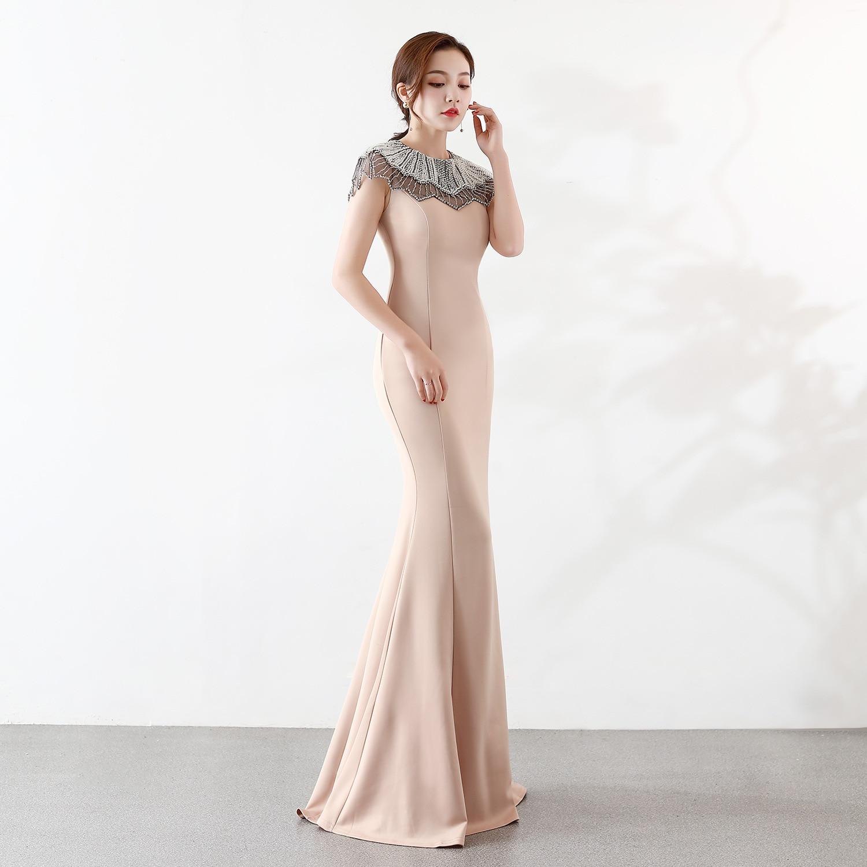High Neck Evening Dress 2020 Luxury Robe De Soiree Long Prom Vestido Largo Fiesta Noche Elegante Mermaid Gown Vestidos De Fiesta