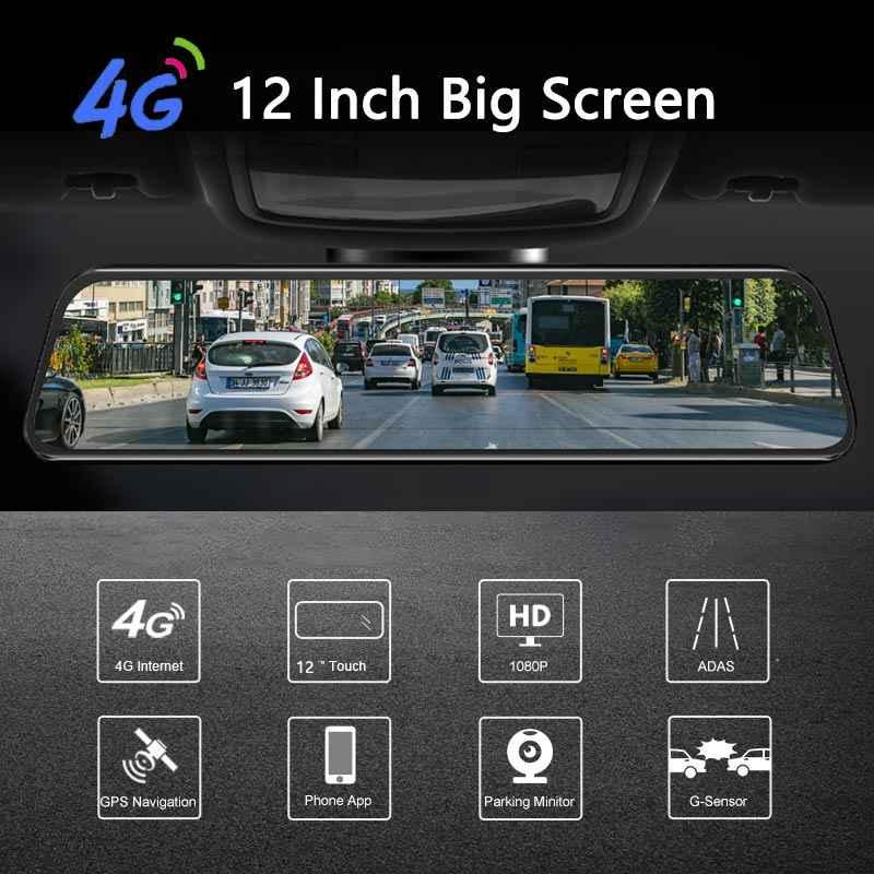 새로운 12 인치 4G ADAS 안 드 로이드 자동차 DVR 카메라 스트리밍 후면보기 미러 1080P WiFi GPS 대시 캠 등록 특별 한 비디오 레코더