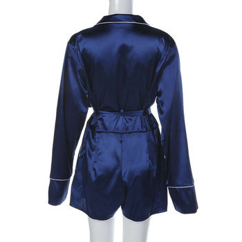 Women Sexy Satin Short Romper Jumpsuit Long Sleeve Clubwear Bodycon Playsuit Belts Bodysuit Party Body Clothes S-2XL 2020 New 6